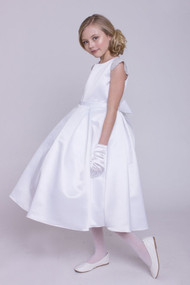 Beautiful White Satin 1st Communion Dress With Box Pleats