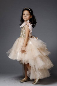 Gorgeous Pageant Dress With Beaded Bodice And Hi Lo Skirt Rose Gold