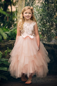 Petite Adele Couture Sequin Tulle Flower Girl Pageant Dress in Blush