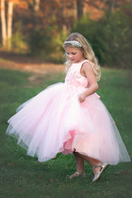 Pink Jacquard Tulle Flower Girl Dress  By Petite Adele Couture