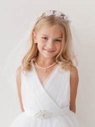 Girls White Communion Veil With Flower Crown