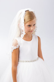 Single Layer White First Communion Veil With Floral Lace Edge