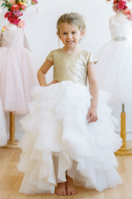 Amalee Couture Flower Girl Dress With Hi Lo Ruffled Skirt