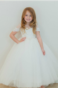 Sheer Illusion Embroidered And Tulle 1st Communion Dress By Amalee Couture