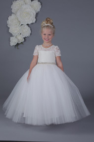 Amalee Couture Luxurious Lace And Tulle 1st Communion Dress in white
