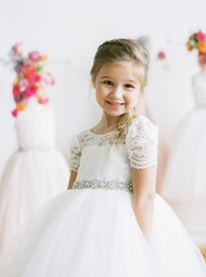 Amalee Couture Ivory Tea Length Lace Tulle Communion Flower Girl Dress
