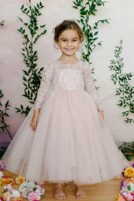 Long Sleeve Lace Tulle Flower Girl Dress In Rose By Amalee Couture