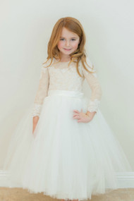 Amalee Couture Elegant Ivory Lace First Communion Dress