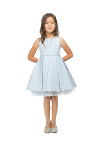 Sleeveless Metallic Jacquard Girls Special Occasion Dress In Blue