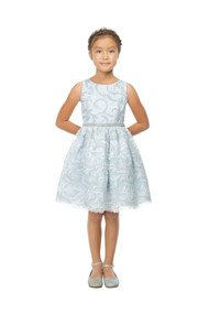 Girls Special Occasion Lace Sequin Embroidered Party Dress  In Blue
