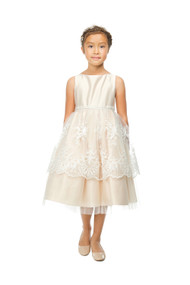 Girls Special Occasion Dress With Sleeveless Satin Bodice
