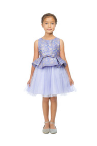 Charming Girls Party Dress In Metallic Floral Jacquard