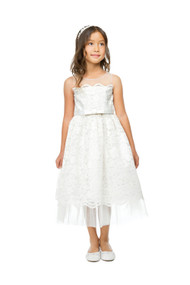 Princess Collection Party Dress For Girls With Lace And Tulle In Ivory
