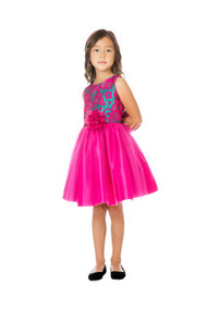 Princess Collection Floral Jacquard Girls Party Dress In Fuchsia