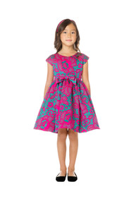 Girls Floral Jacquard Special Occasion Dress In Fuchsia
