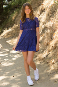 Petite Adele Simply Elegant Teen Girls Party Dress In Lace
