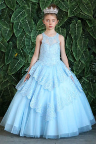 Girls Pageant Gown With Crystal Beaded Lace Skirt