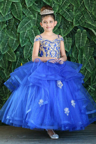 Beautiful Pageant Dress For Girls With Glitter Skirt in Royal Blue