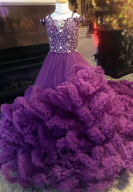 One Of A Kind Ruffled Couture Princess Pageant Gown