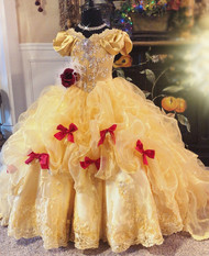 Girls Couture Princess Belle Inspired Ball Gown For Special Occasion