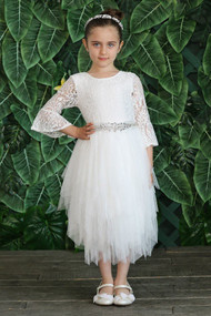 Girls Special Occasion Flower Girl Dress With Lace And Tulle Skirt