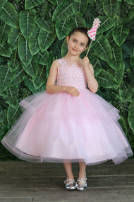 Flower Girl Dress With Beaded Embroidered Bodice And Organza Skirt