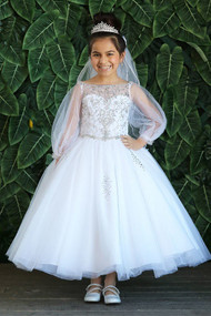 Stunning Crystal Embellished Communion Dress With Bell Sleeves