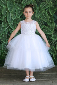 Girls First Communion Tea Length Dress With Illusion Neckline