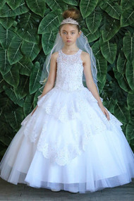 Stunning 1st Communion Dress With Lace And Crystal Beading