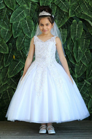 Girls White Communion Dress With Embroidered Lace Bodice
