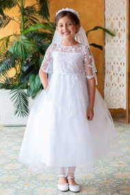 Lovely First Communion Dress With Elbow Length Lace Sleeves