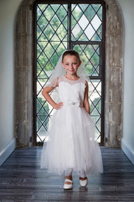 1st Communion Flower Girl Dress With Embroidered Lace Bodice