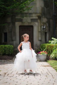 Girls Hi Lo Tulle Flower Girl Dress And 1st Communion Dress