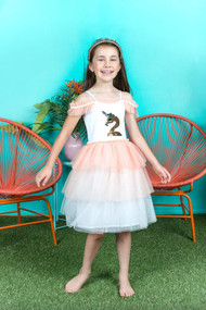 Girls Special Occasion Sequin Tutu Dress With Ruffled Neckline
