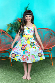 Charming Sun Kissed Cotton Print  Kids Dress For Summer