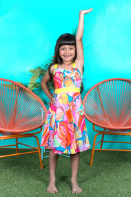 Kids Special Occasion Summer Dress In Tropical Print