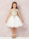 Teen Pageant Dress With Luxurious Gold Lace Overlay