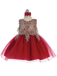 Baby Party Special Occasion Pageant Dress With Tulle Skirt