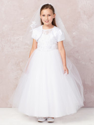 Girls White Communion Dress With Illusion Embroidered Neckline