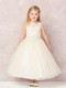 Tea Length 1st Communion Flower Girl Dress With Illusion Neckline