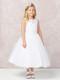Tea Length 1st Communion Flower Girl Dress With Illusion Neckline