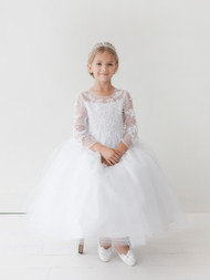 Communion Dress With Illusion Neckline Lace Applique Bodice