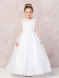 First Holy Communion White Dress With Lace Bodice