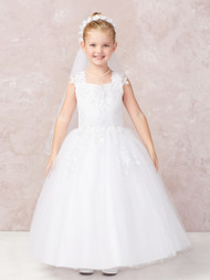Beautiful Satin First Communion Dress With Lace Applique Bodice