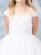White Communion Dress With Embroidered Off The Shoulder Bodice