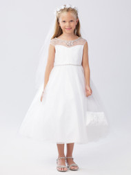 First Communion Tea Length Dress With Beaded Illusion Neckline