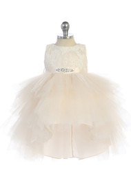 Lovely Baby Party Dress With Lace Bodice Hi Lo Tulle Skirt