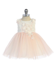 Infant Baby Party Dress With 3D Floral Lace Bodice And Tulle Skirt