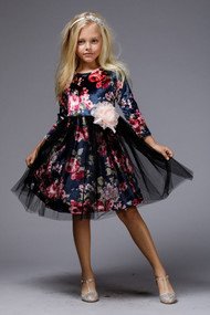 Girls Special Occasion Party Dress In Pretty  Velvet Floral Print