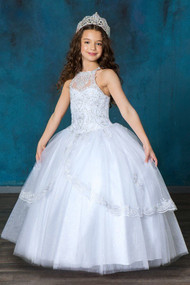 Gorgeous White Communion Dress With Crystal Beaded Bodice